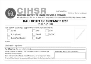 Hall ticket for Entrance Test 2017-2018